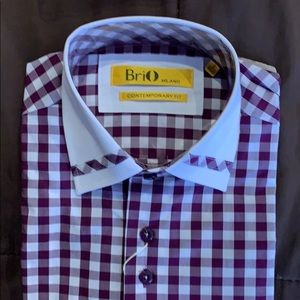NWT Brio Men's Purple Check Shirt S 14.5 15